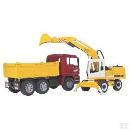 Camión MAN y excavadora